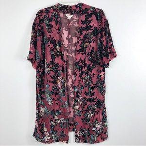 Arizona Jean Company Floral Sheer Kimono Cardigan
